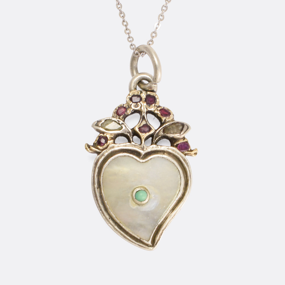 18th Century Turquoise, Diamond & Garnet Witches Heart Pendant