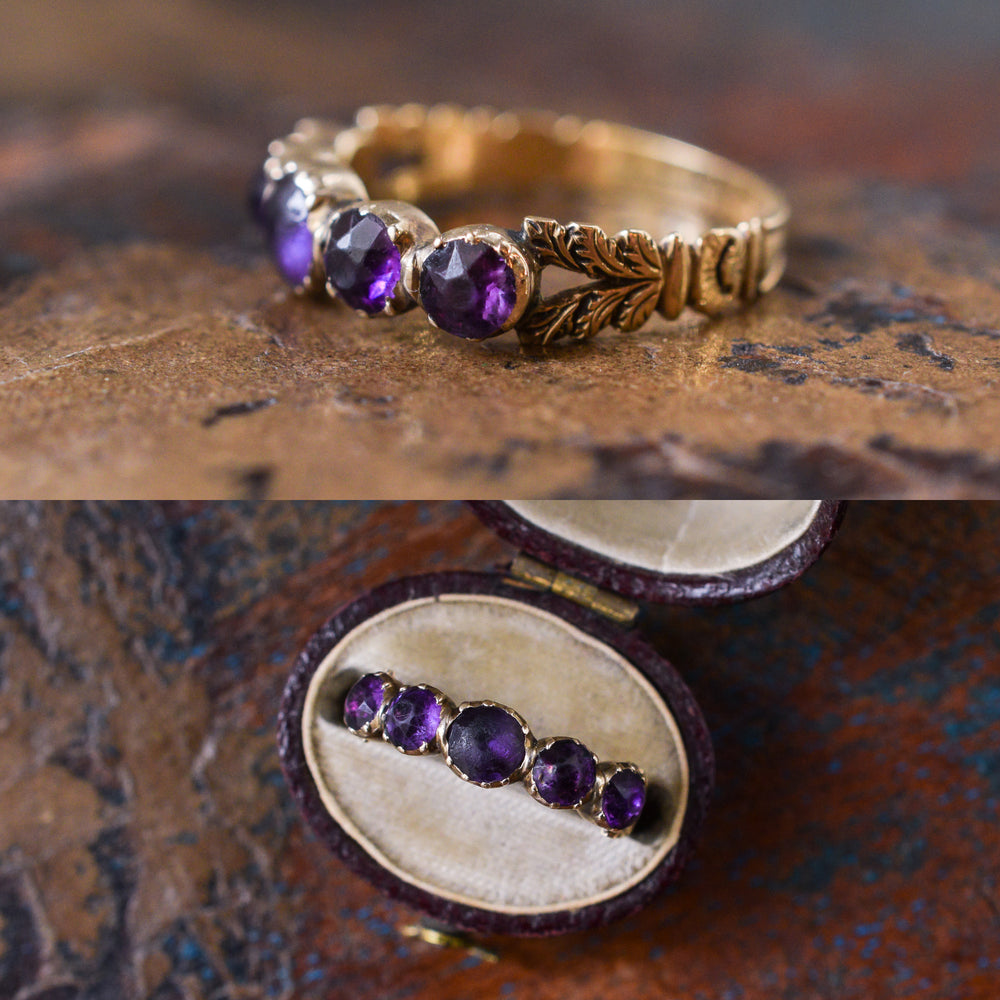 Georgian Purple Paste Half-Hoop Ring