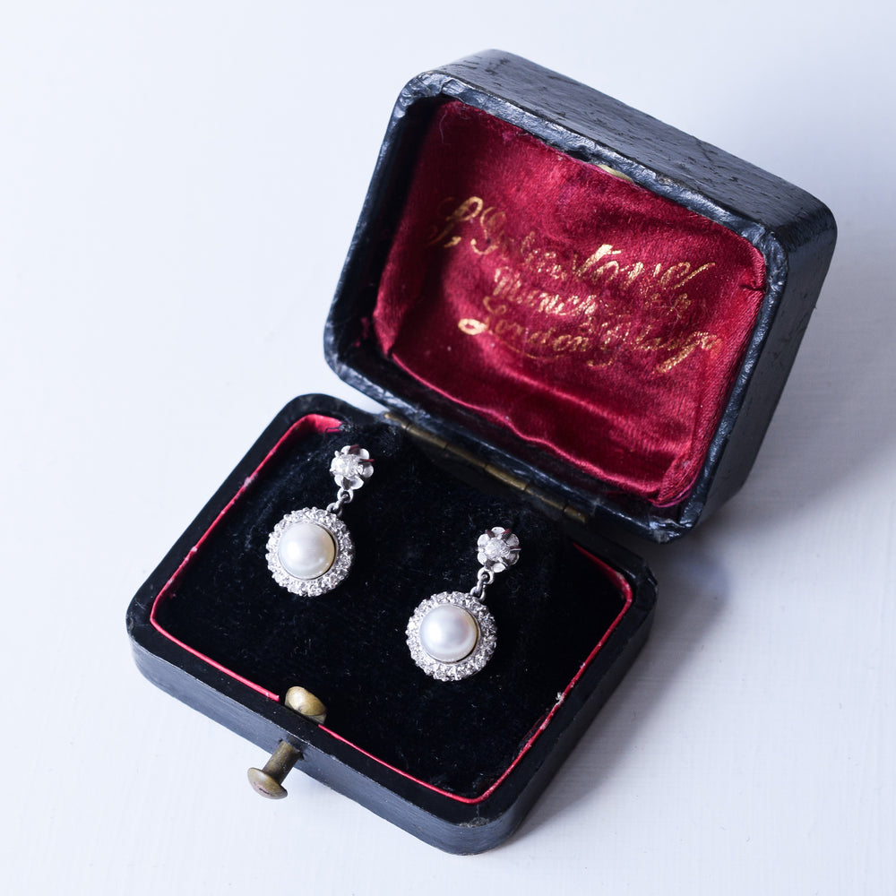Art Deco Pearl & Diamond Cluster Stud Earrings