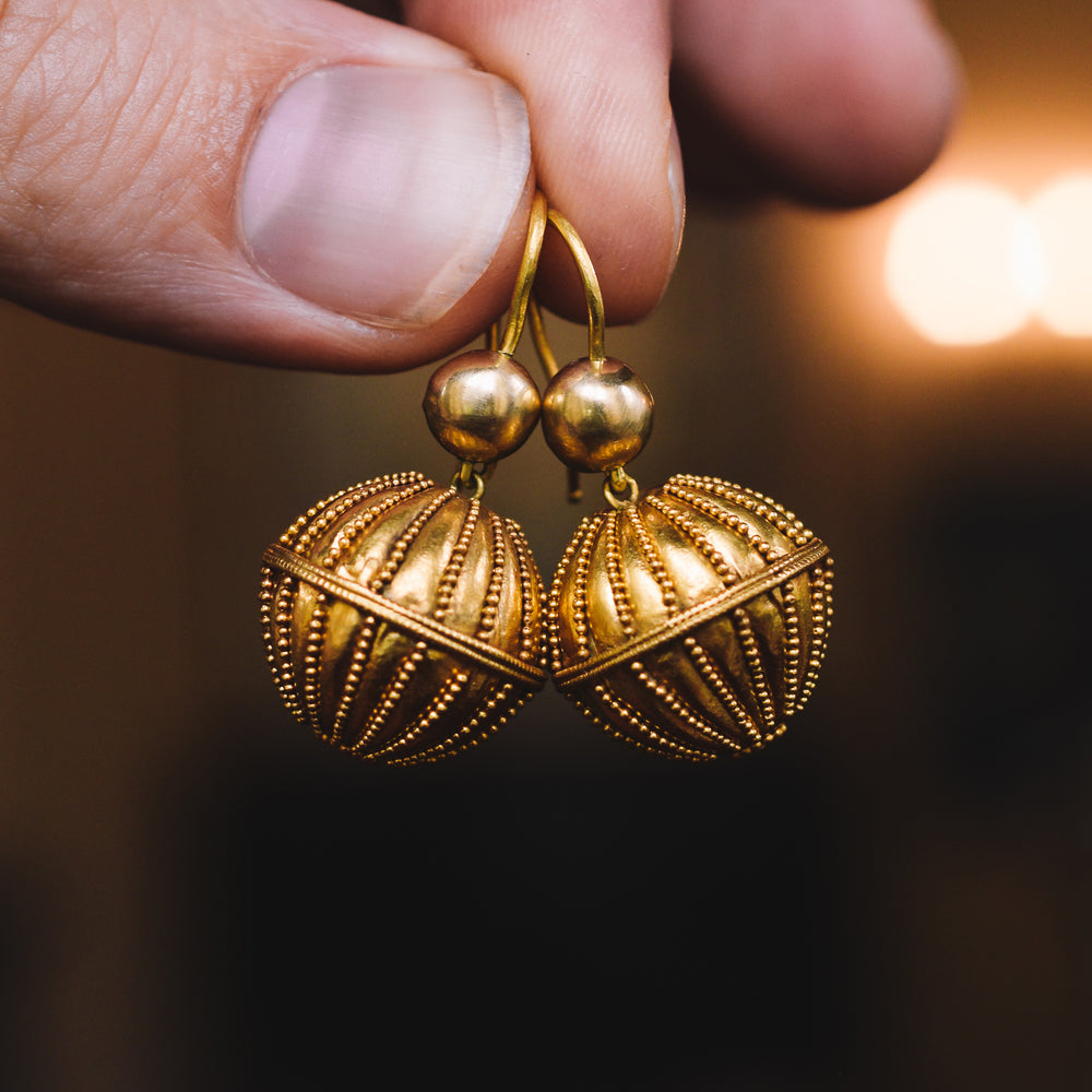 Victorian Etruscan Revival Orb Earrings