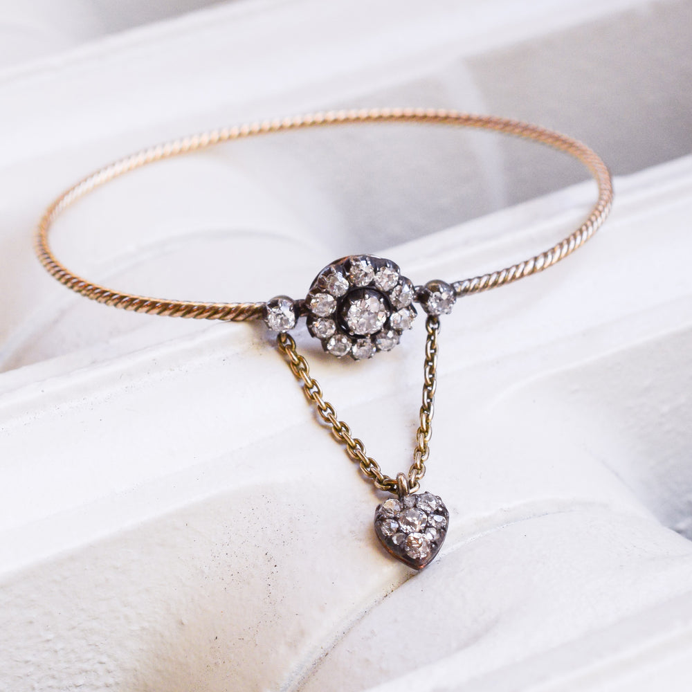 Early Victorian Diamond Flower & Heart Bangle