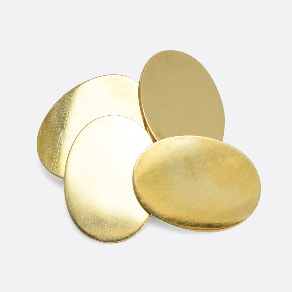 1920s 15k Gold Oval Cufflinks