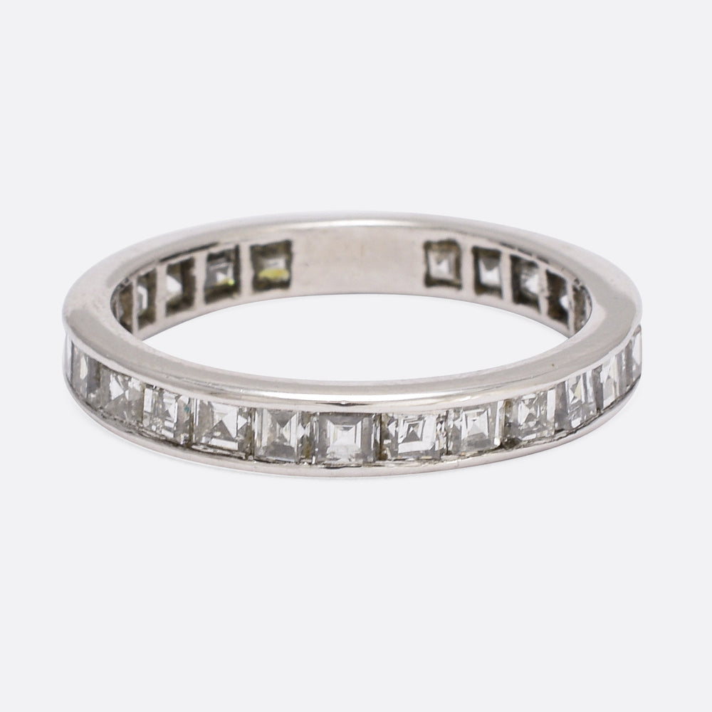 1920s 2.0ct Carre Cut Diamond Platinum Eternity Ring