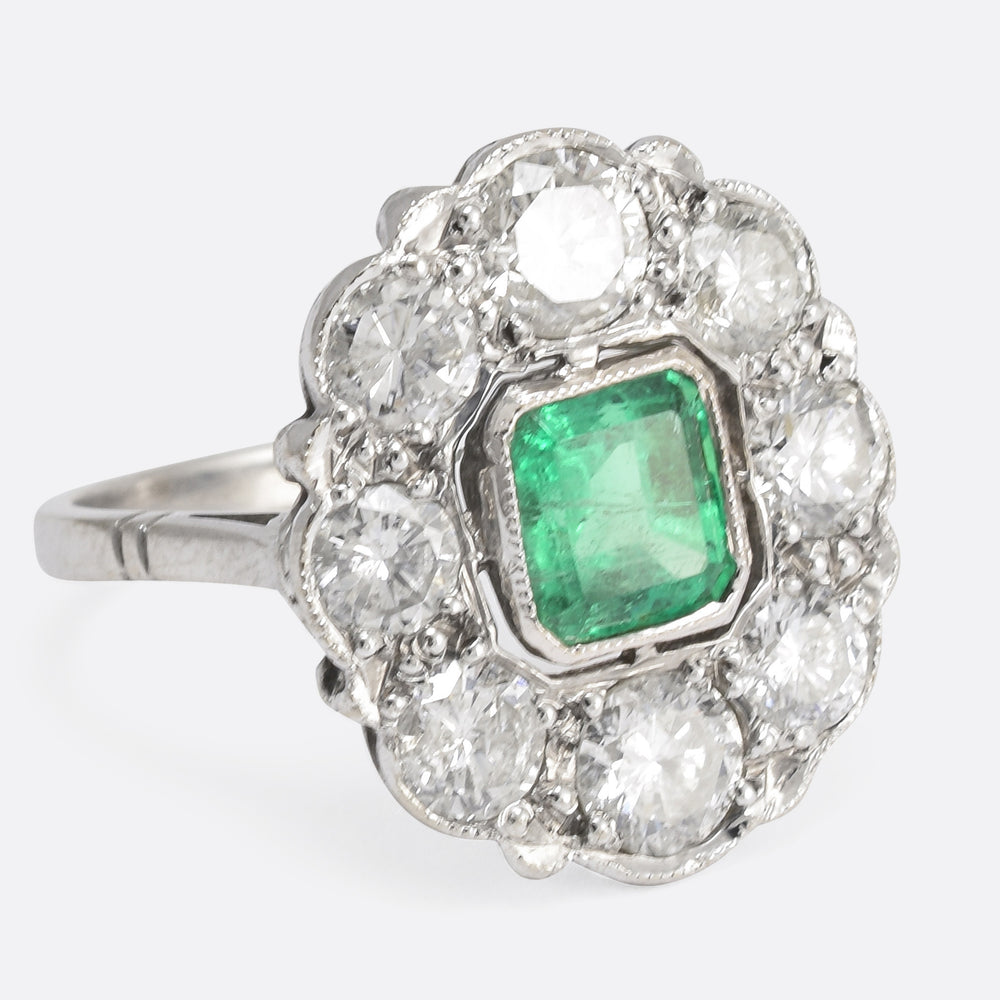 1920s Emerald & Diamond Flower Cluster Ring