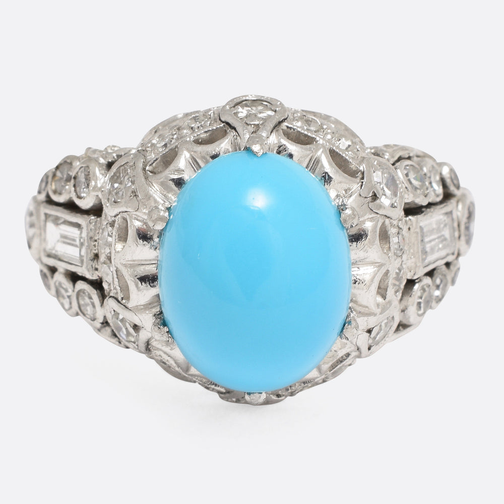 1930s Art Deco Turquoise & Diamond Cocktail Ring