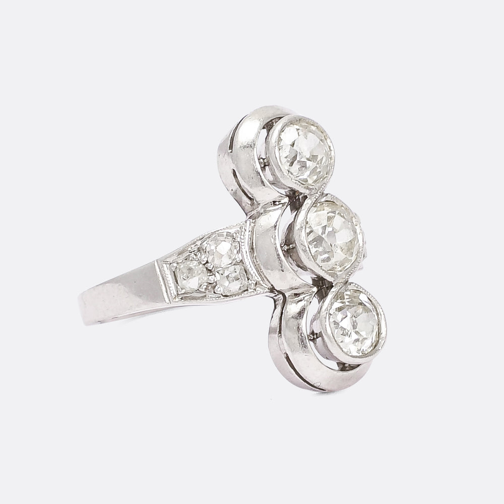 1940s Modernist 1.64ct Diamond Three-Stone Ring