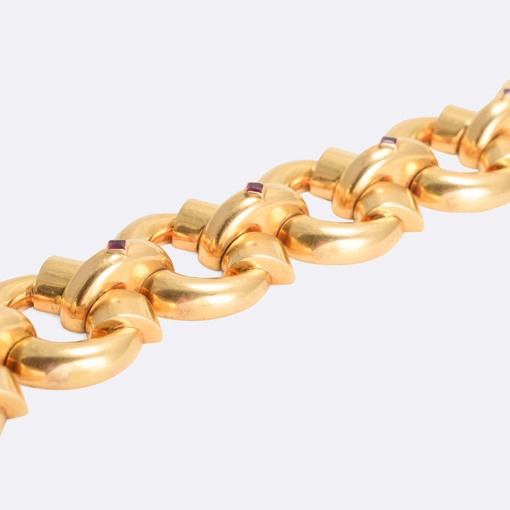 1940s Modernist Ruby Bracelet in 18k Gold