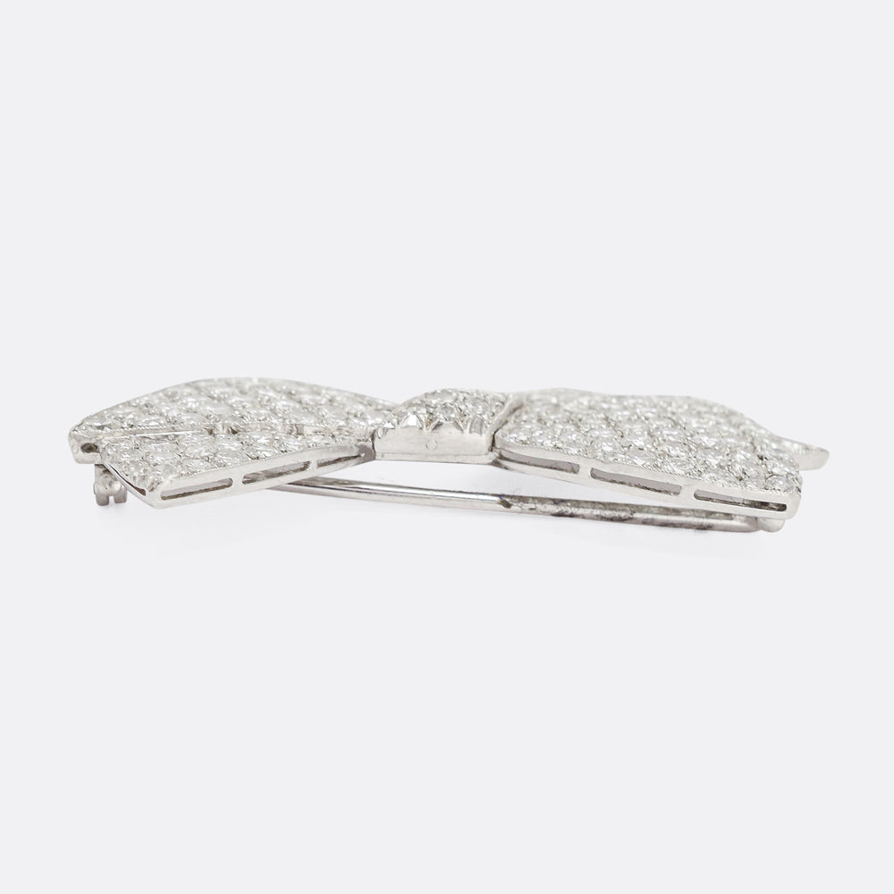 1950s 4.75ct Diamond Bow Brooch