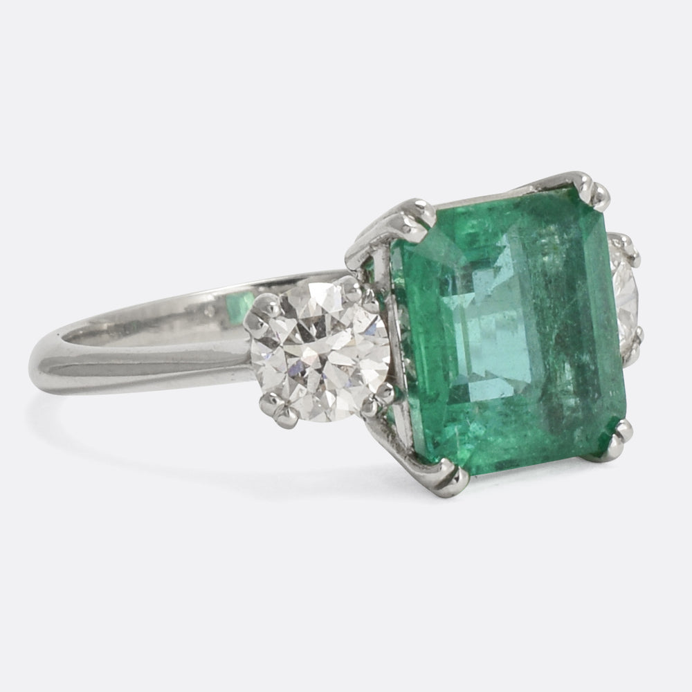 1950s Emerald & Diamond Trilogy Engagement Ring