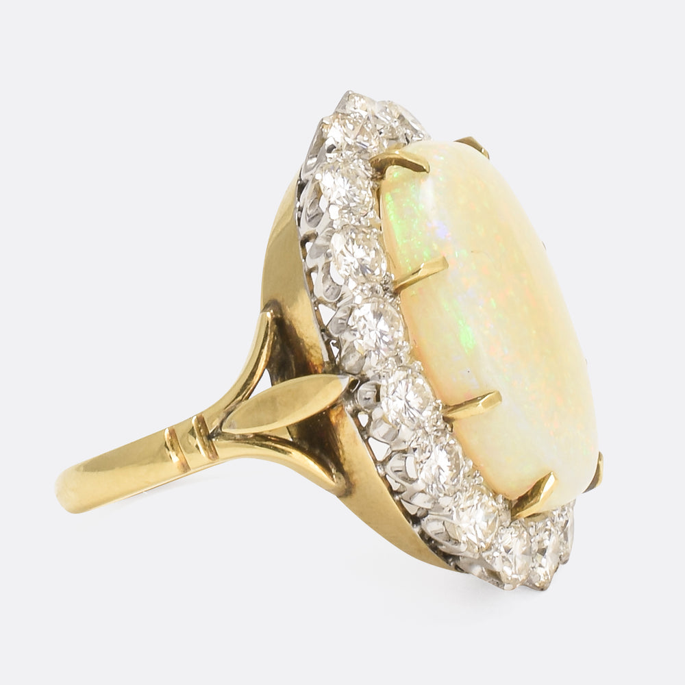 1950s Oversized Opal & Diamond Cluster Ring