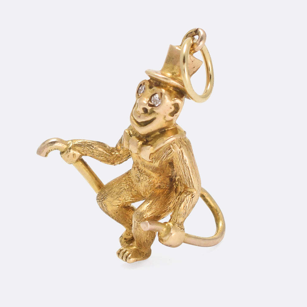 1960s Gold Monkey Novelty Pendant