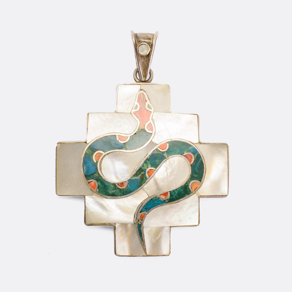 1960s Mother-of-Pearl Serpent Pendant