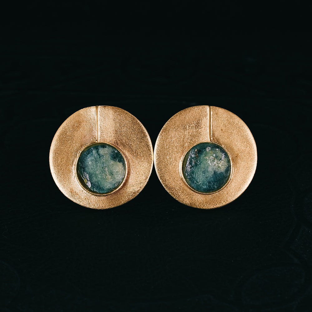 1970s Modernist Roman Glass Earrings