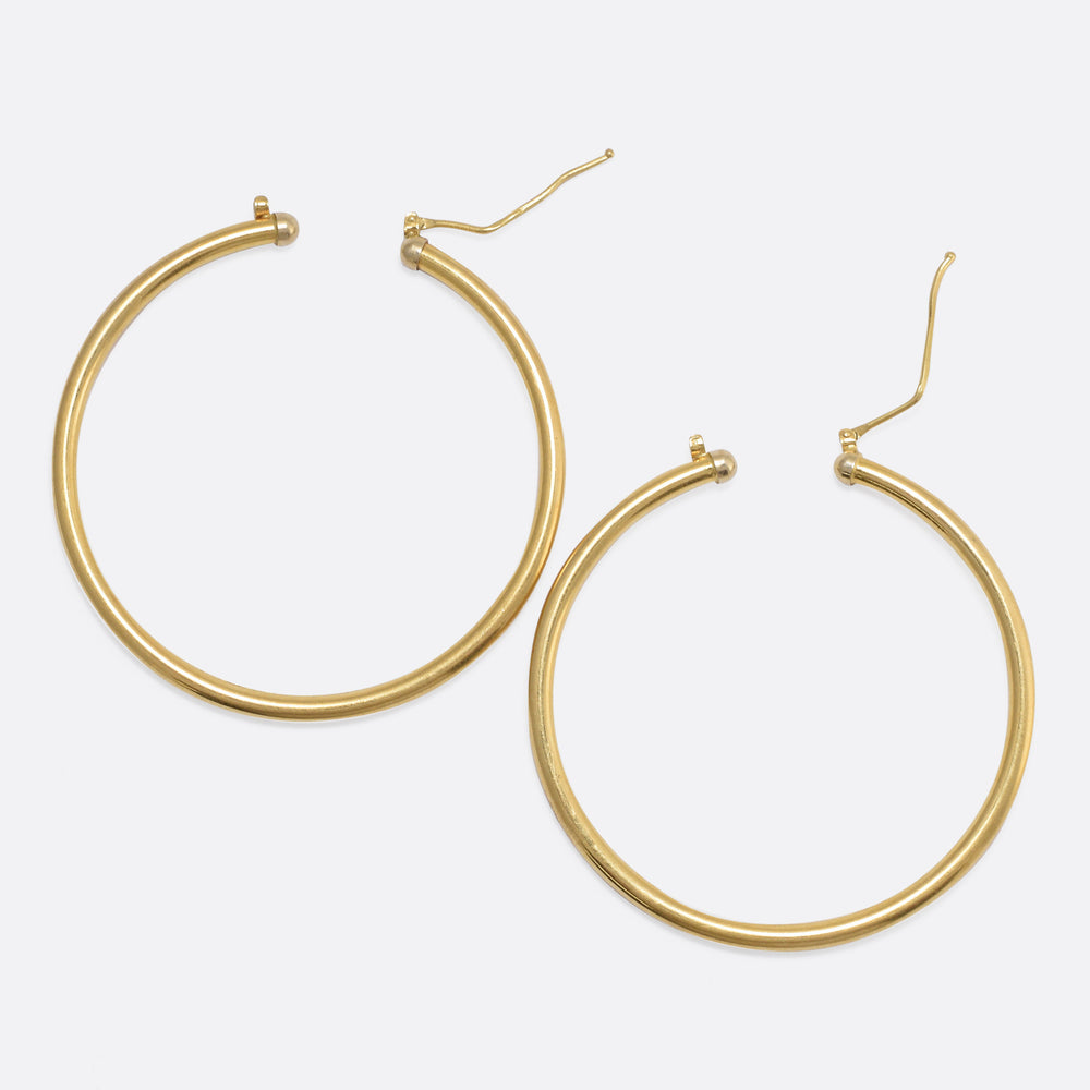 1990s 18k Gold Hoop Earrings
