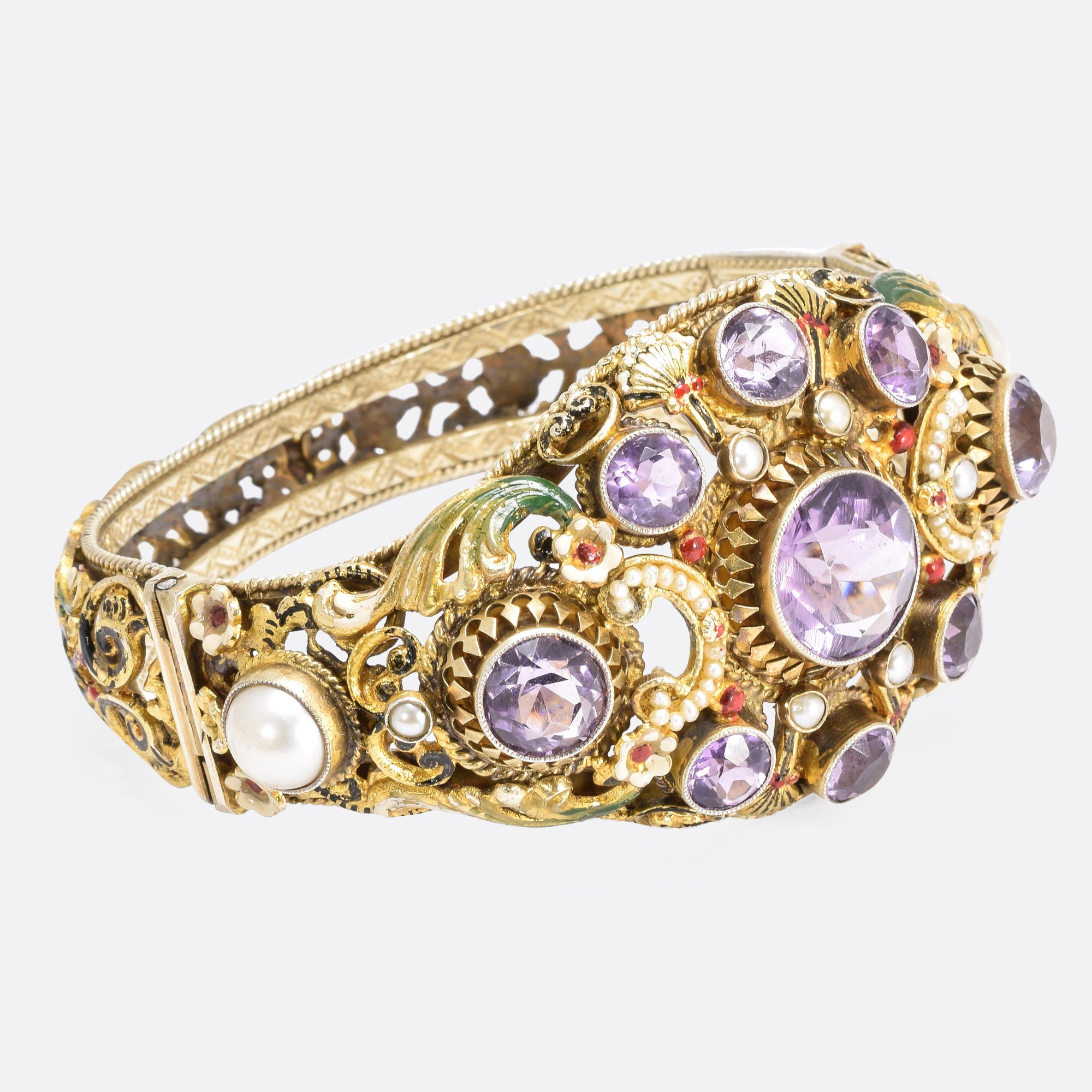 bangles fully pearl hallmarked stunning antique bangle yellow seed bracelet and listing amethyst gold il fullxfull