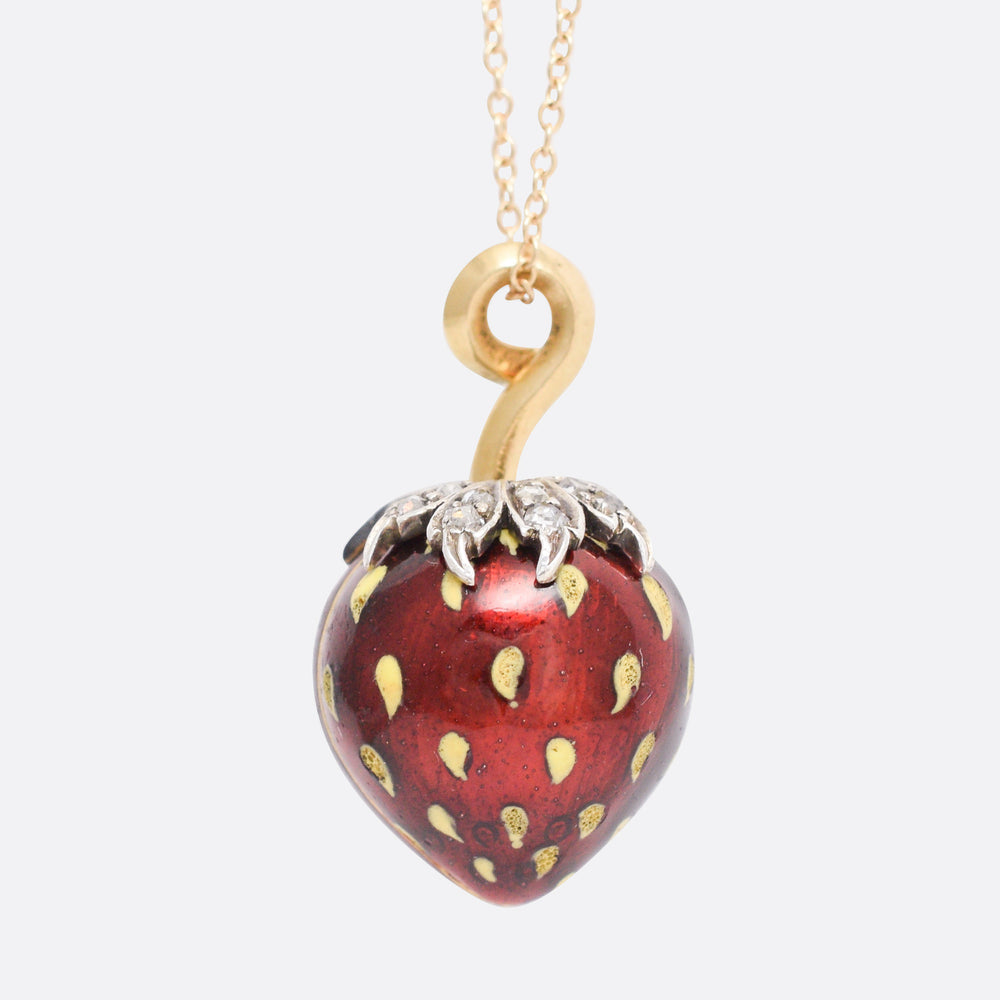 19th Century French Diamond Strawberry Locket