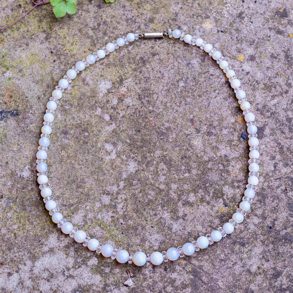 Art Deco Opal Bead Necklace