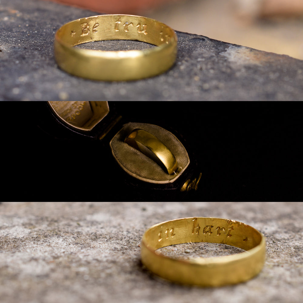 18th Century 22k Gold Posy Ring Be tru in hart