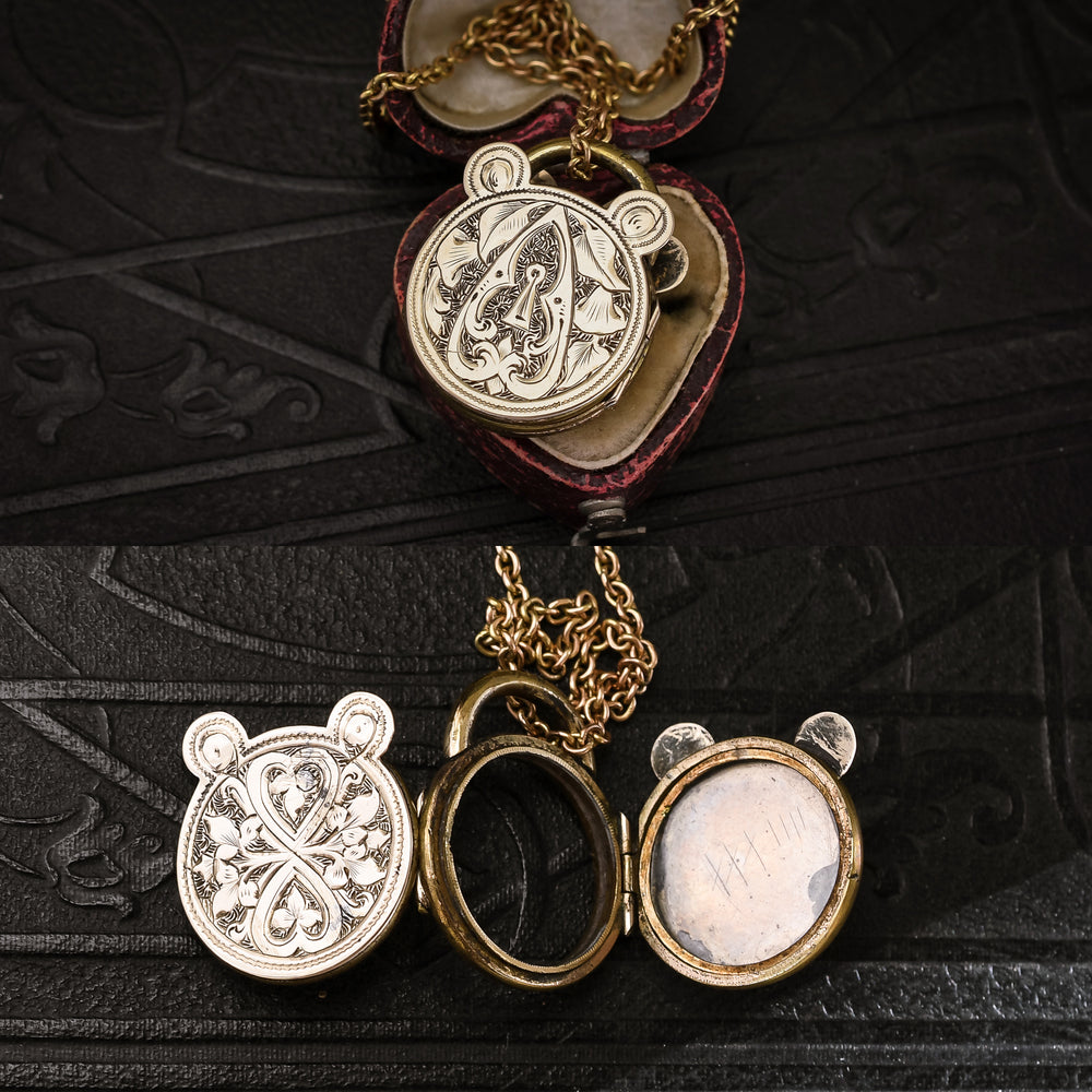 Victorian Engraved Heart Padlock Locket