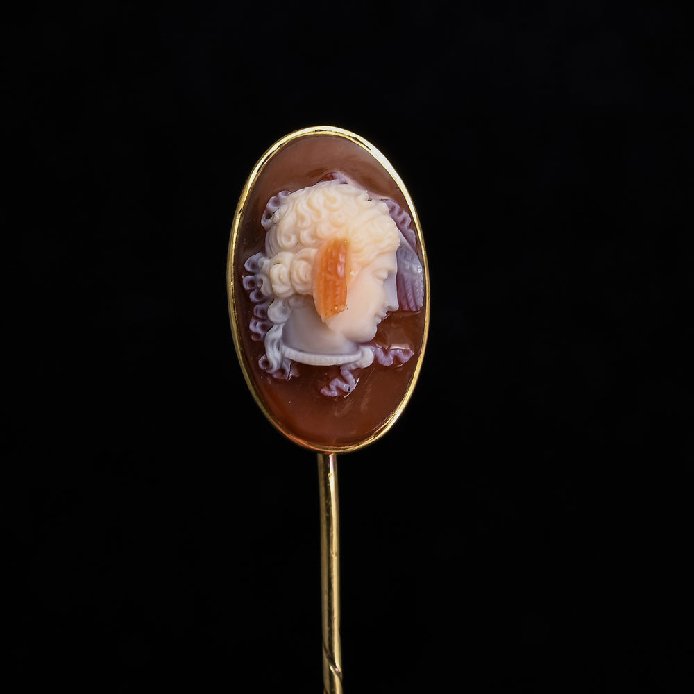 Early Victorian Medusa Cameo Stick Pin