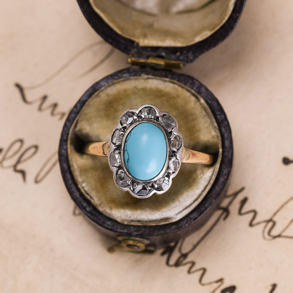 Victorian Turquoise & Rose Diamond Flower Ring