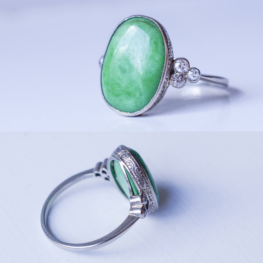 Edwardian Jade Cocktail Ring