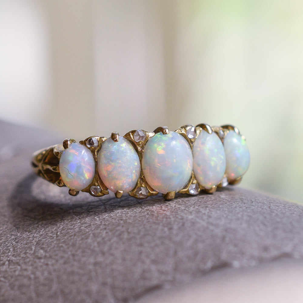 Victorian Opal & Diamond Five-Stone Ring