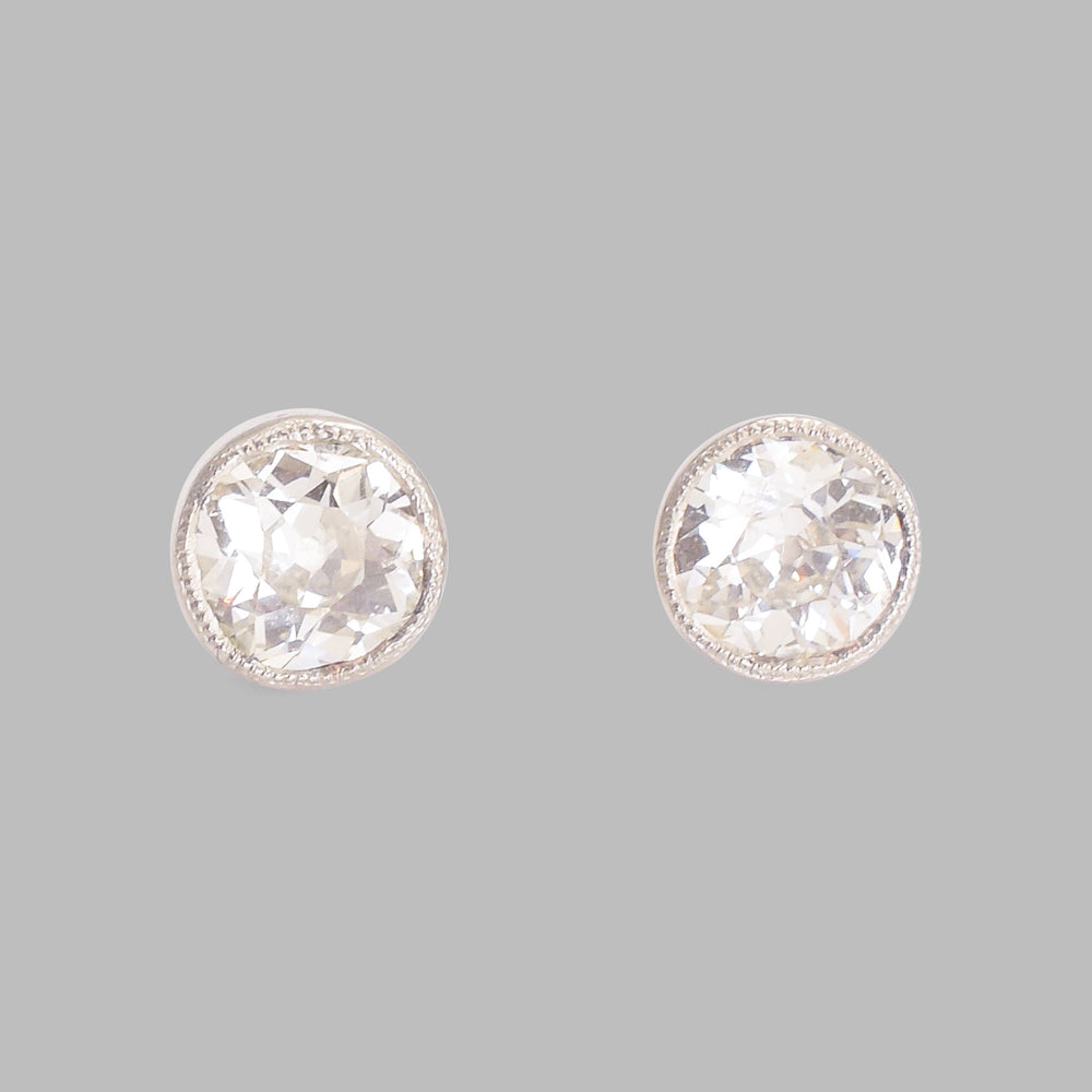 Bespoke 2 Carat Cushion Cut Diamond Stud Earrings