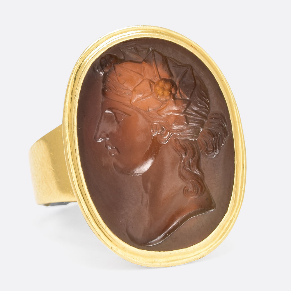 "Georgian ""Flora"" Agate Intaglio Ring - Butter Lane Antiques"