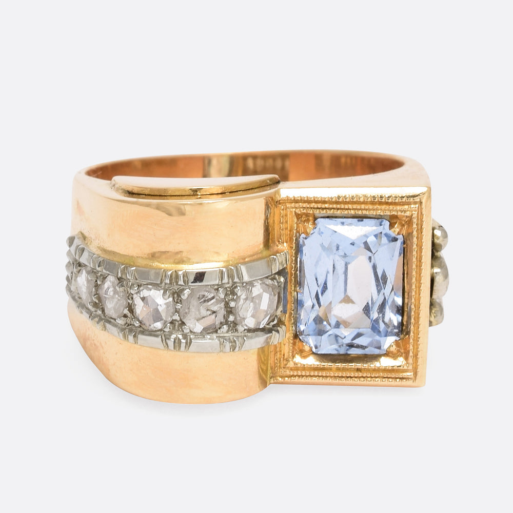 1940s Aquamarine & Diamond Cocktail Ring - Butter Lane Antiques