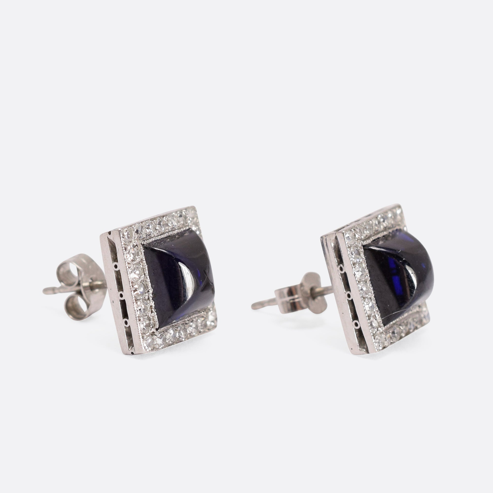 stud lane art diamond earrings butter deco antiques antique sapphire sugarloaf products cabochon
