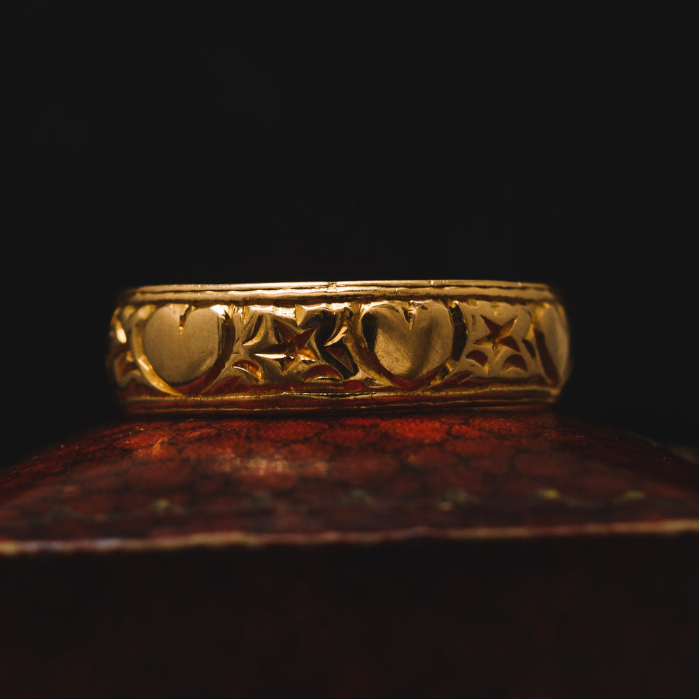 Edwardian Stars & Hearts Wedding Band