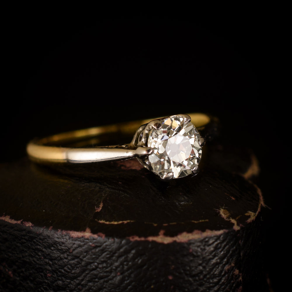 Edwardian 0.78ct Cushion Cut Diamond Solitaire Ring