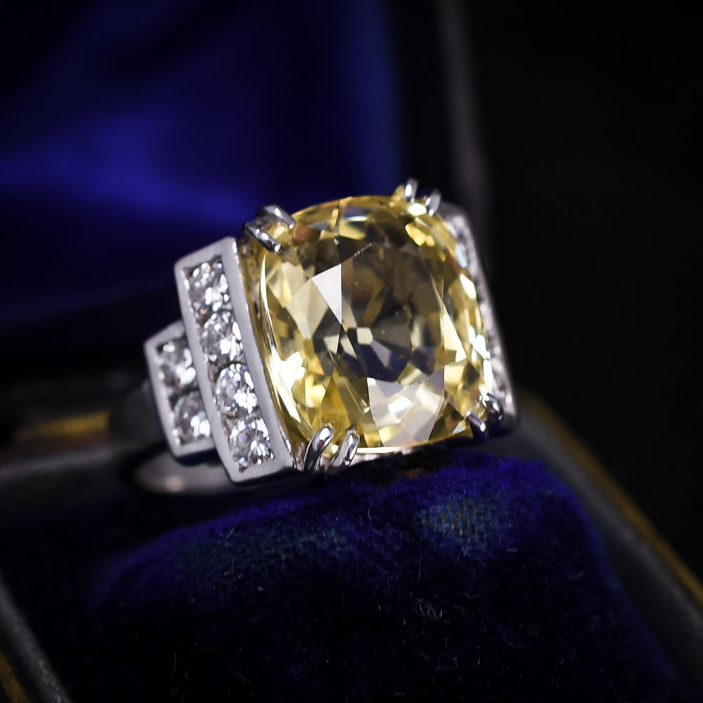 Art Deco 11.2ct Ceylon Yellow Sapphire Cocktail Ring