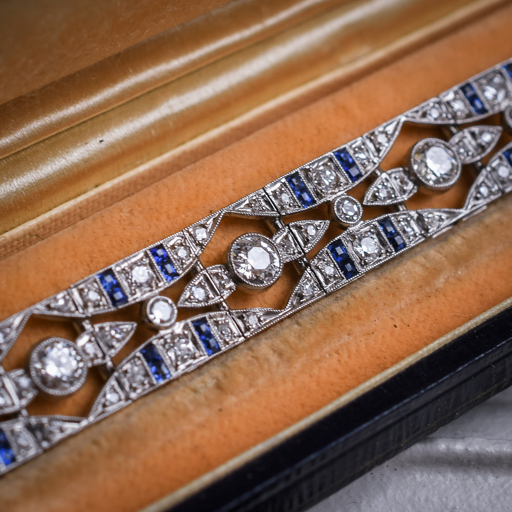 French Art Deco Diamond & Sapphire Millegrain Panel Bracelet