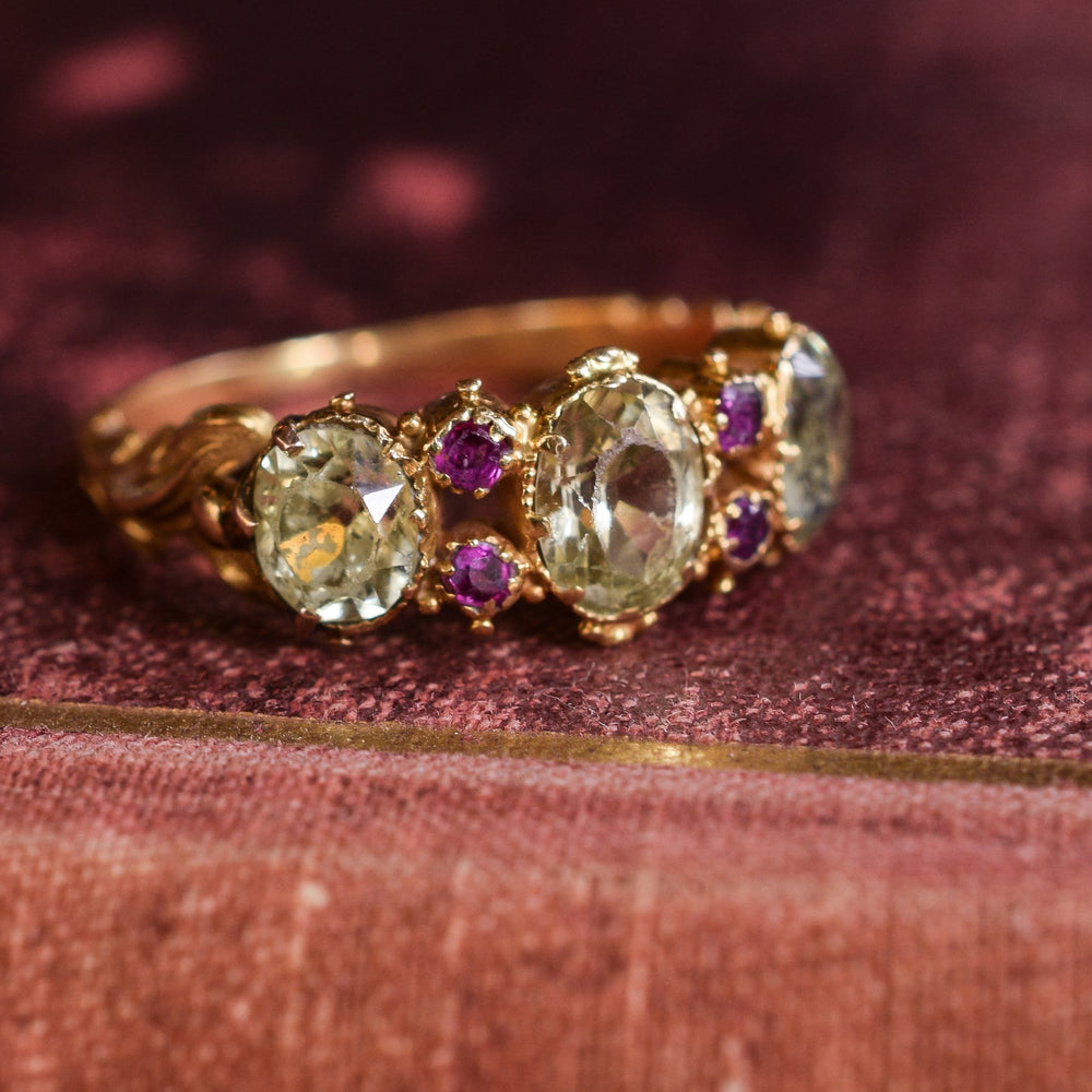 Early Victorian Chrysolite & Ruby Three-Stone Ring