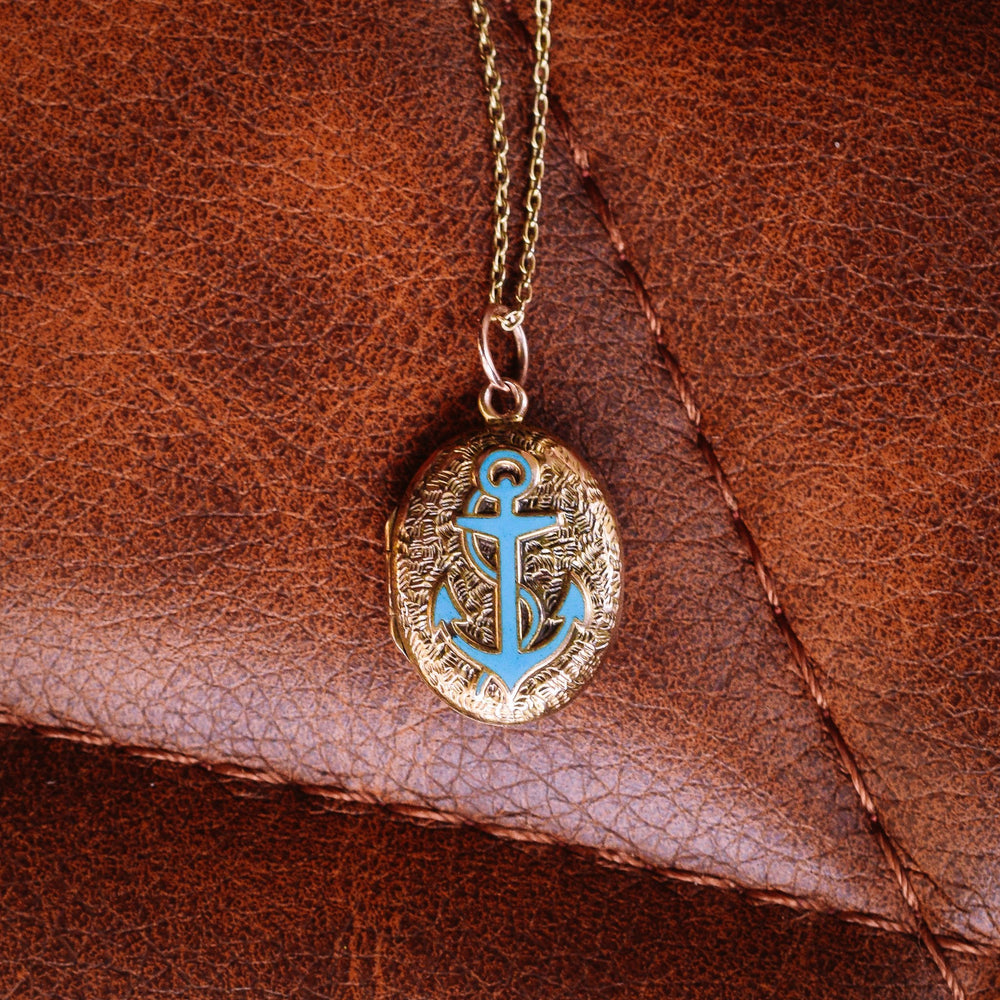 Victorian Chased Turquoise Anchor Locket