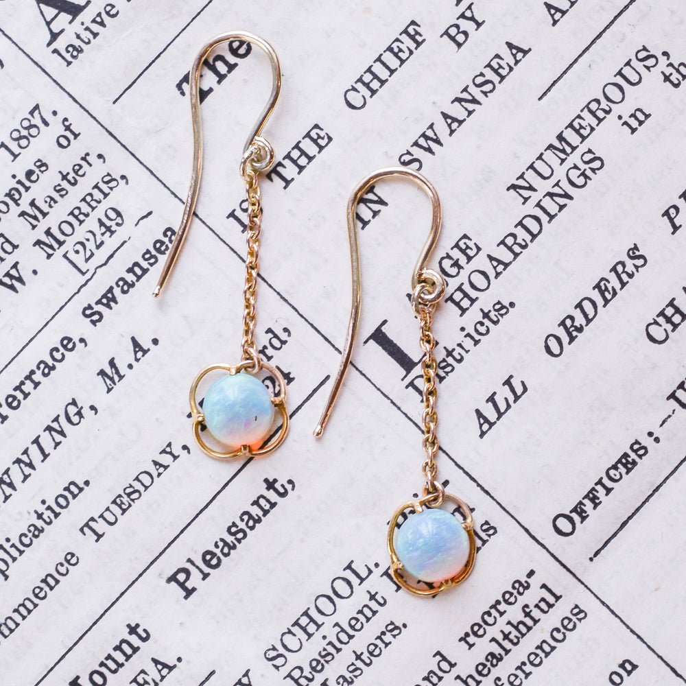 Late Victorian Opal Drop Earrings