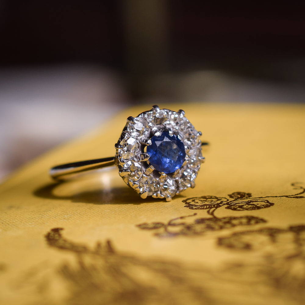 Edwardian Sapphire & Diamond Round Cluster Ring