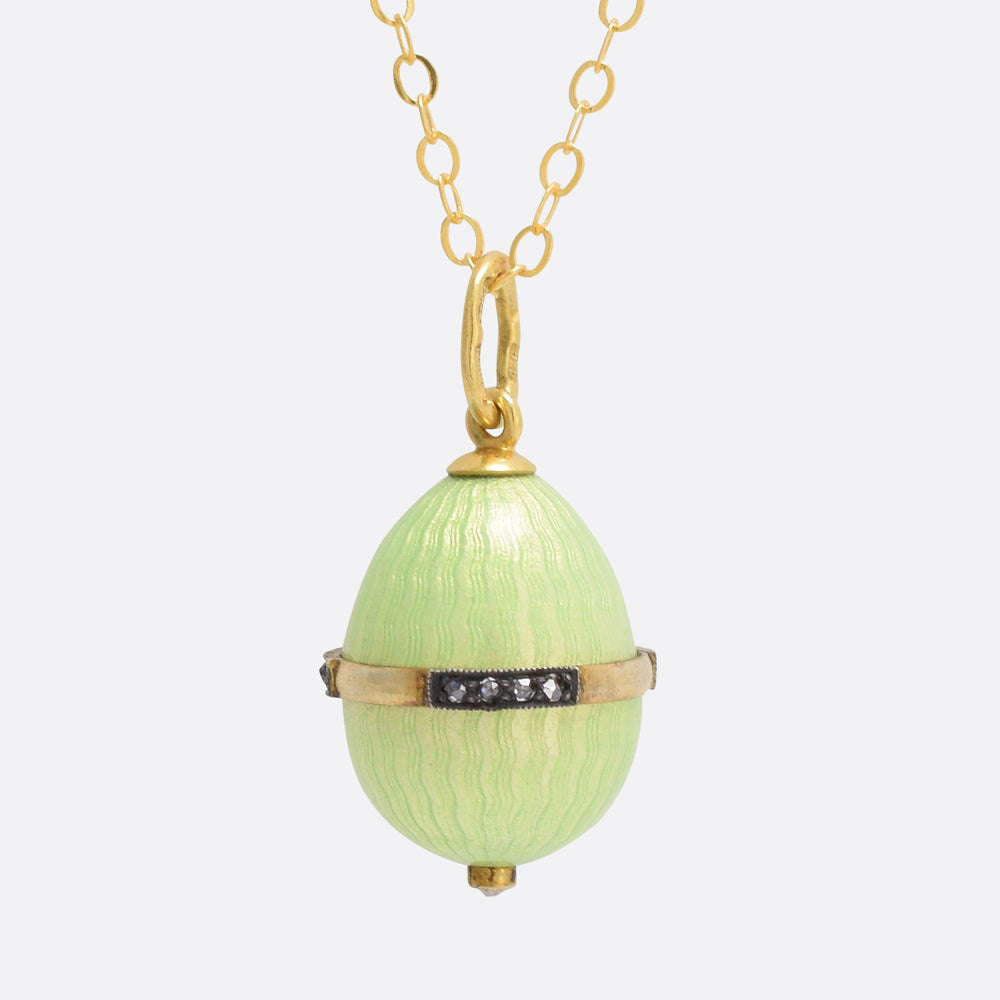 Green Enamel Russian Miniature Egg Pendant by Ananov