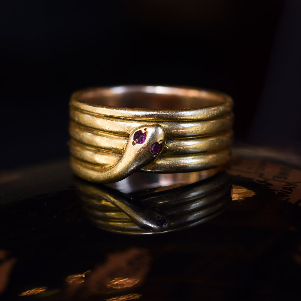 Victorian Ruby Eye Coiled Snake Ring