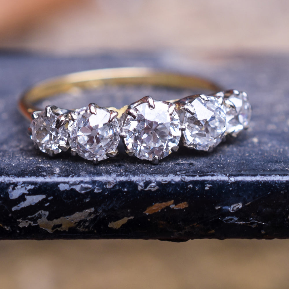 Edwardian 1.75ct Old Cut Diamond 5-Stone Ring