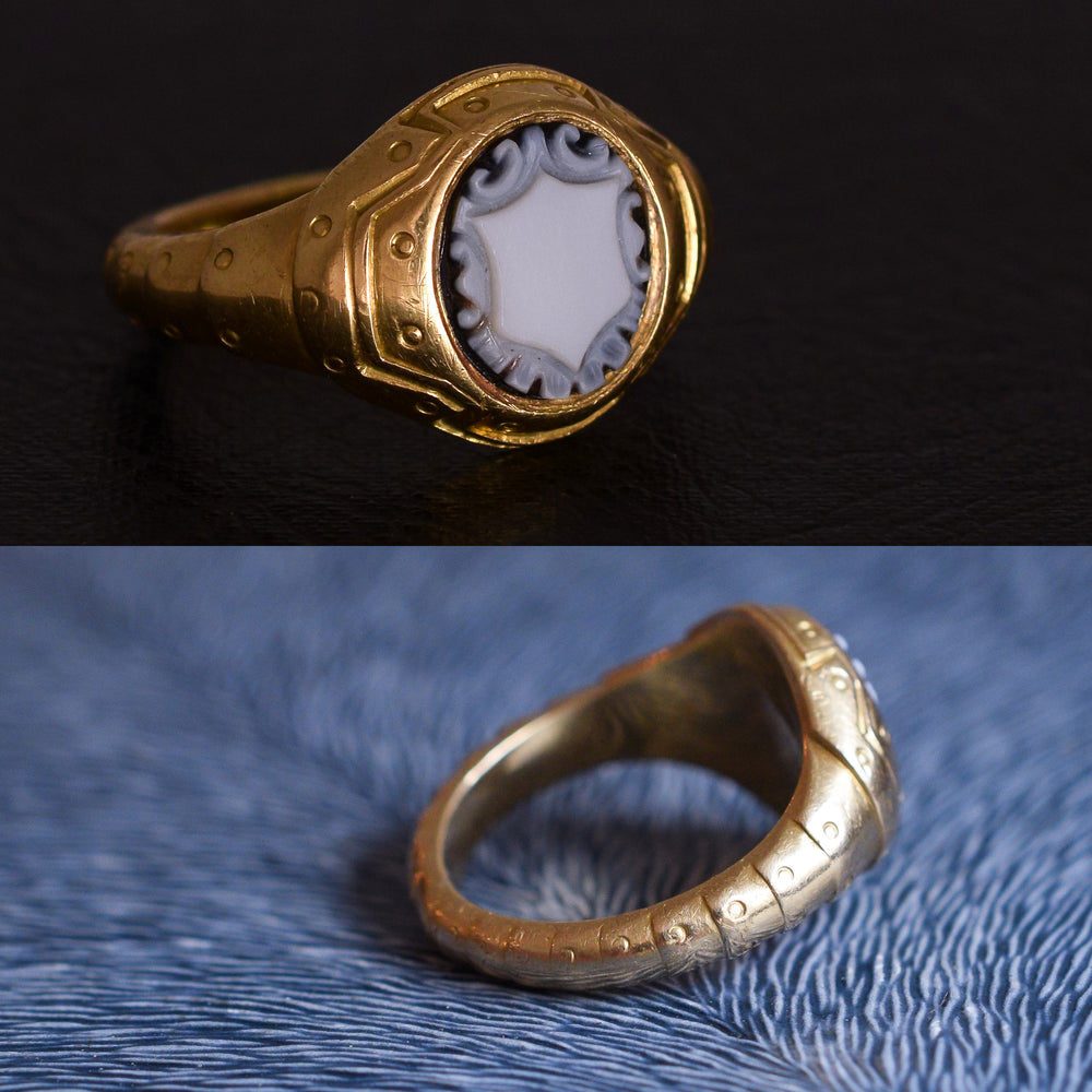 Victorian Onyx Shield Armoured Signet Ring