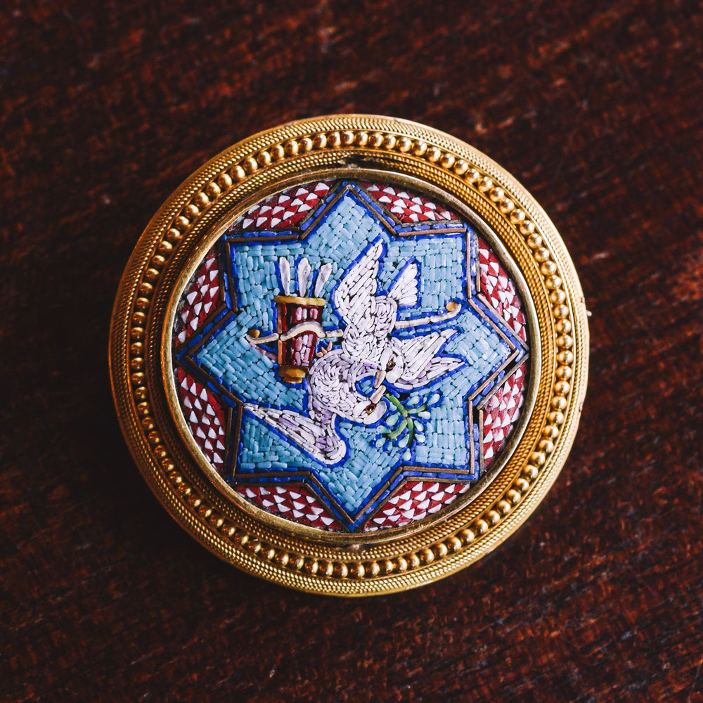 Early Victorian Peace & Love Micromosaic Brooch