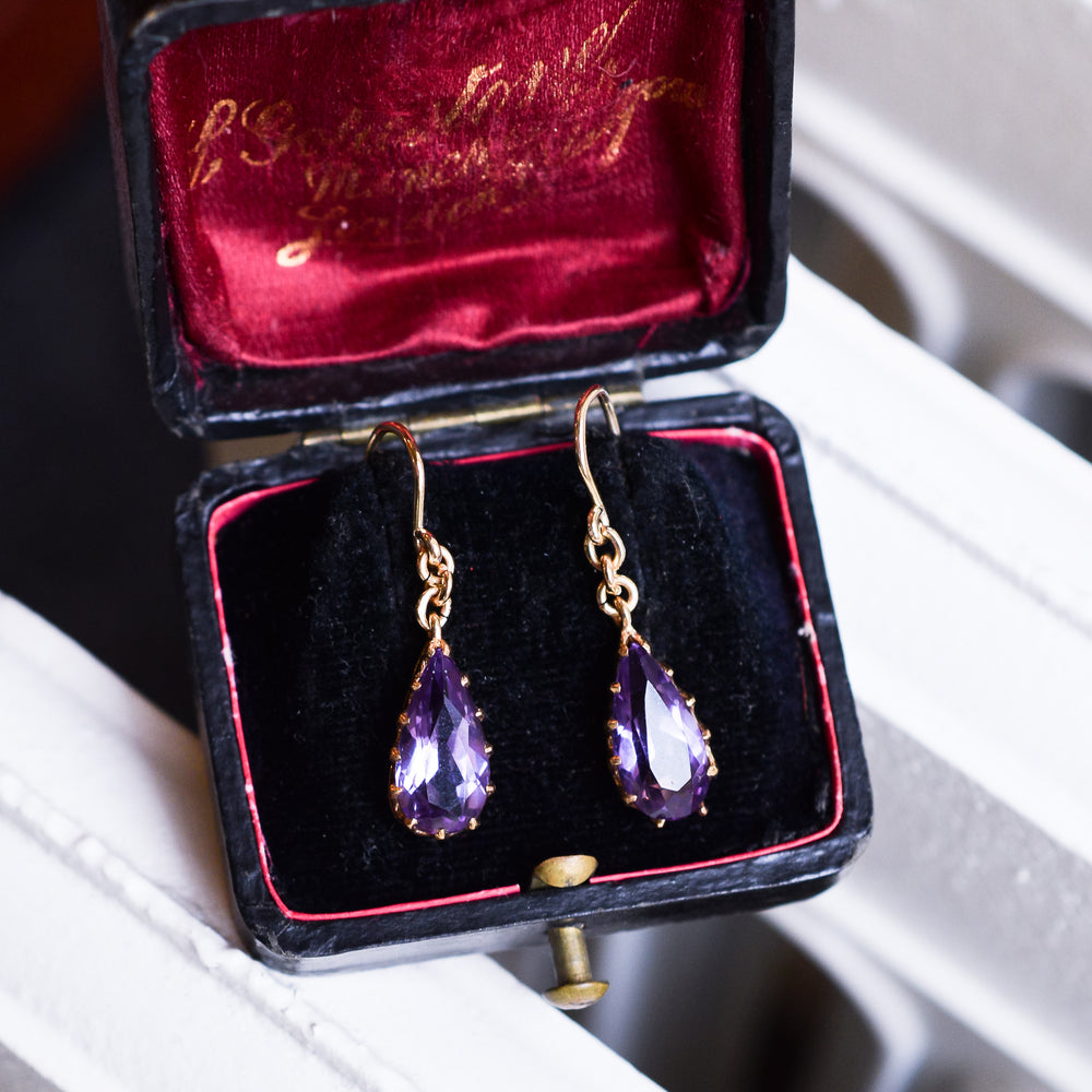 Victorian Pear Cut Amethyst Earrings