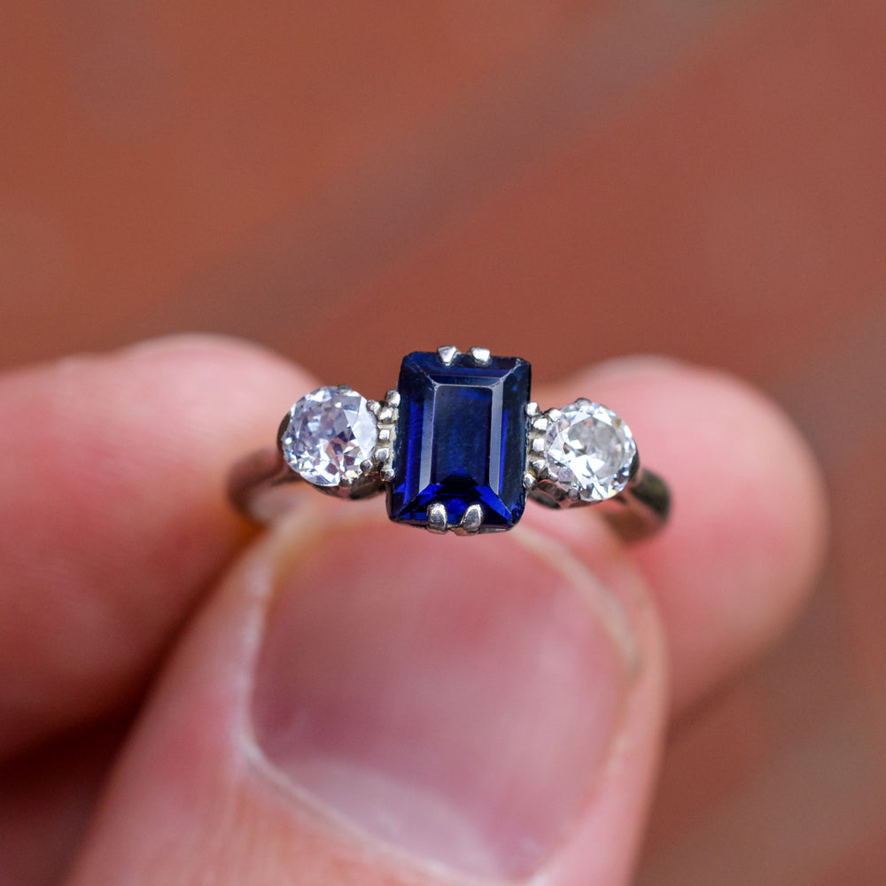 Edwardian Blue Sapphire & Diamond Three-Stone Ring – Butter Lane ...