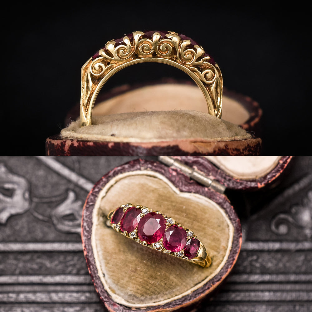 Victorian Ruby & Diamond Scrolled 5-Stone Ring