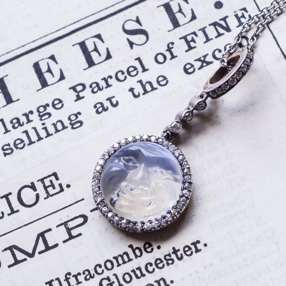 Victorian Diamond Man in the Moon Pendant