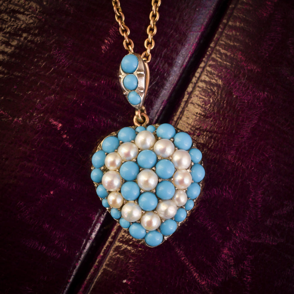 Victorian Turquoise & Pearl Pavé Heart Pendant