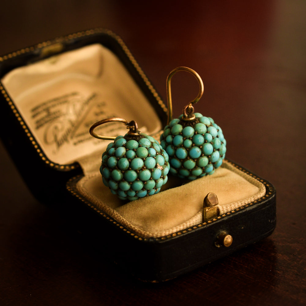 Victorian Pavé Turquoise Orb Earrings